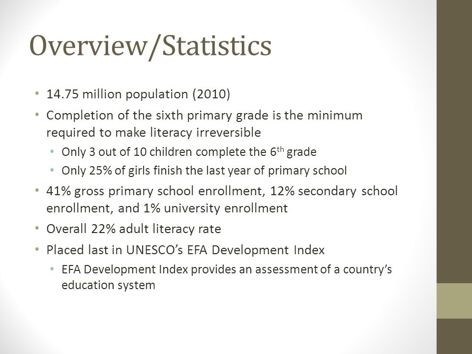 Overview/Statistics 14.75 million population (2010)