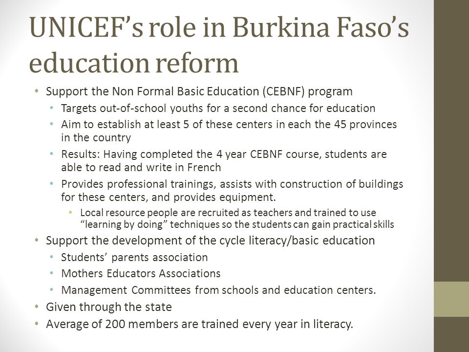 UNICEF's role in Burkina Faso's education reform