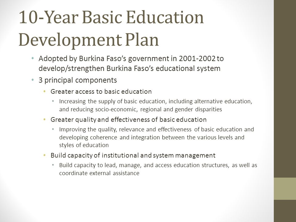 10-Year Basic Education Development Plan