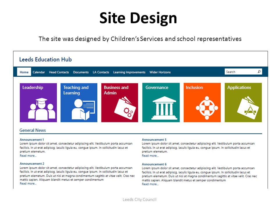 Site Design The site was designed by Children's Services and school representatives.