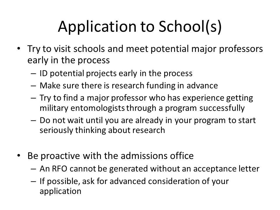 Application to School(s)