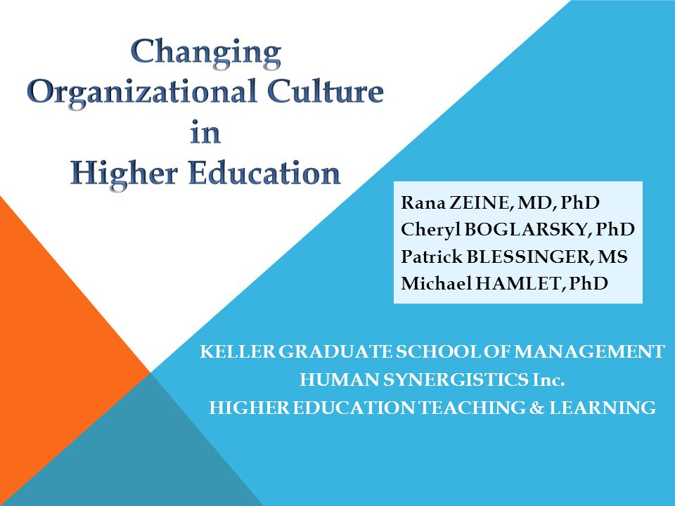 Changing Organizational Culture in Higher Education