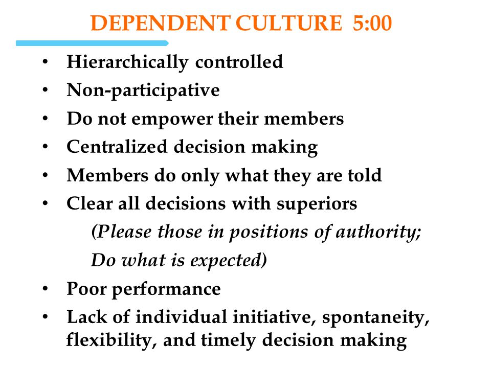 dependent Culture 5:00 Hierarchically controlled Non-participative