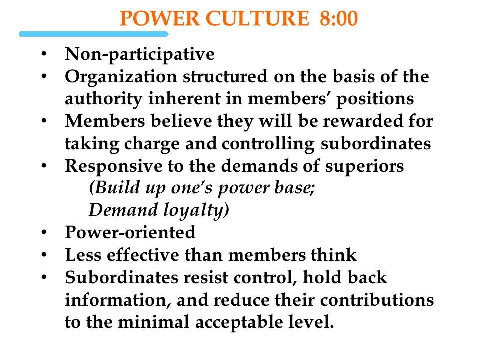 POWER Culture 8:00 Non-participative