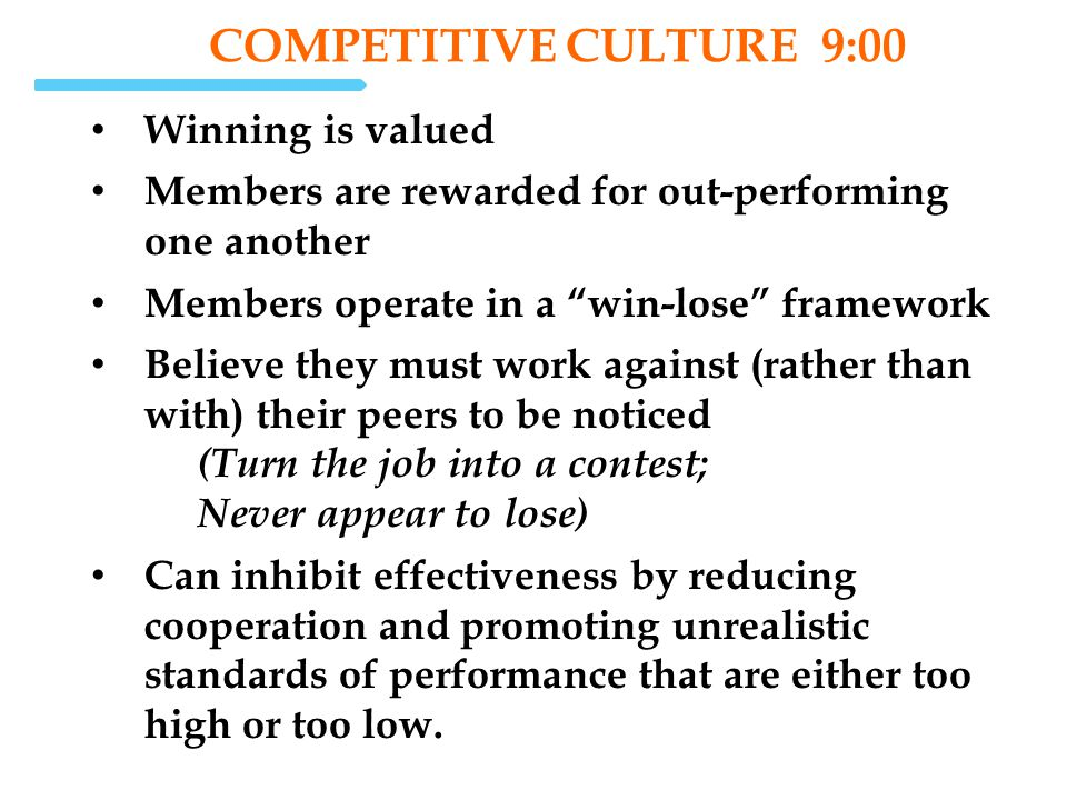 COMPETITIVE Culture 9:00 Winning is valued