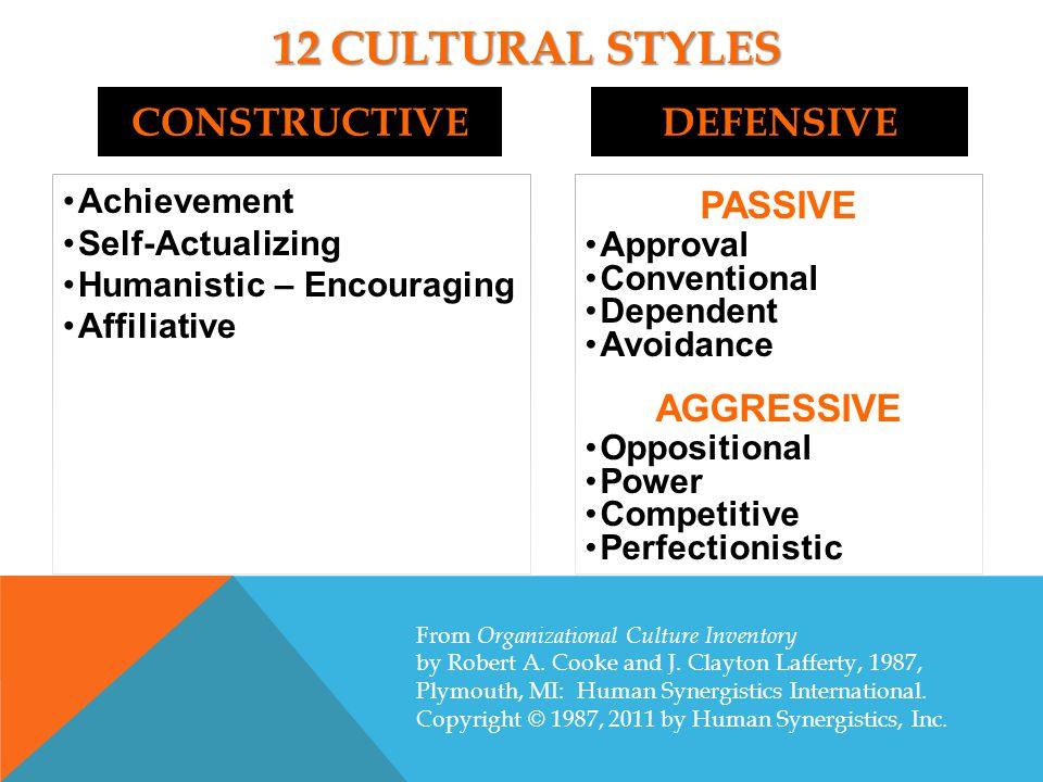 12 Cultural styles constructive defensive