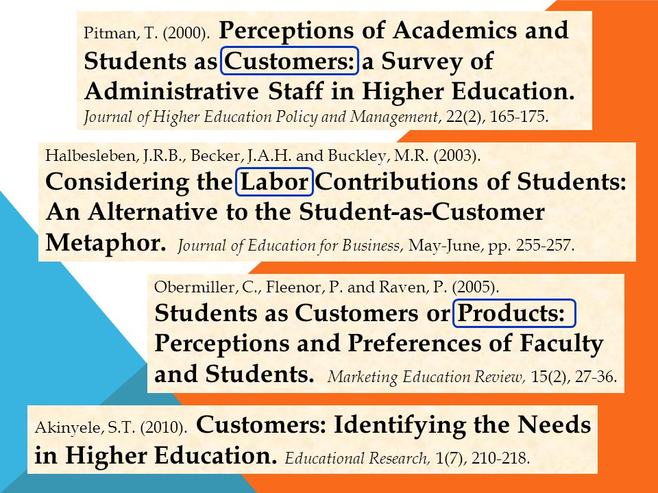 Students as Customers or Products: