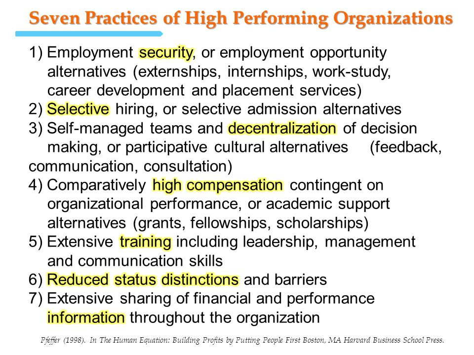 Seven Practices of High Performing Organizations