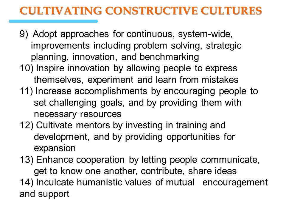 CULTIVATING CONSTRUCTIVE CULTURES