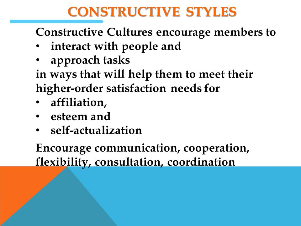 Constructive styles Constructive Cultures encourage members to