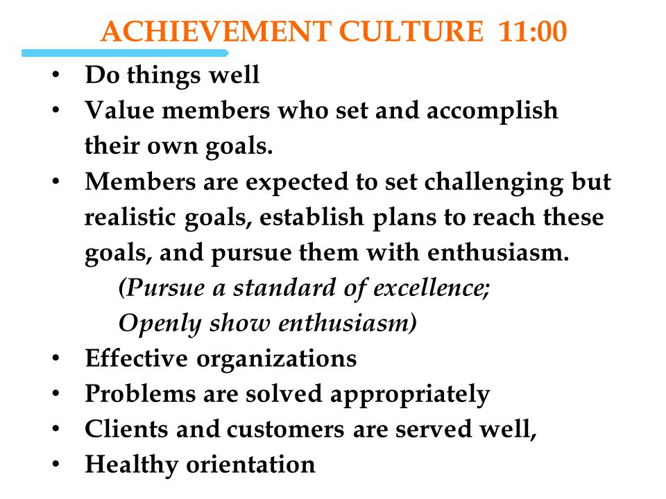 ACHIEVEMENT Culture 11:00 Do things well