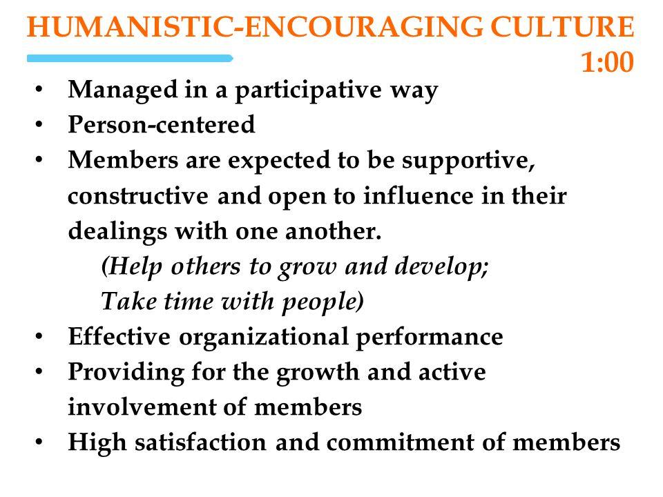 Humanistic-Encouraging Culture 1:00