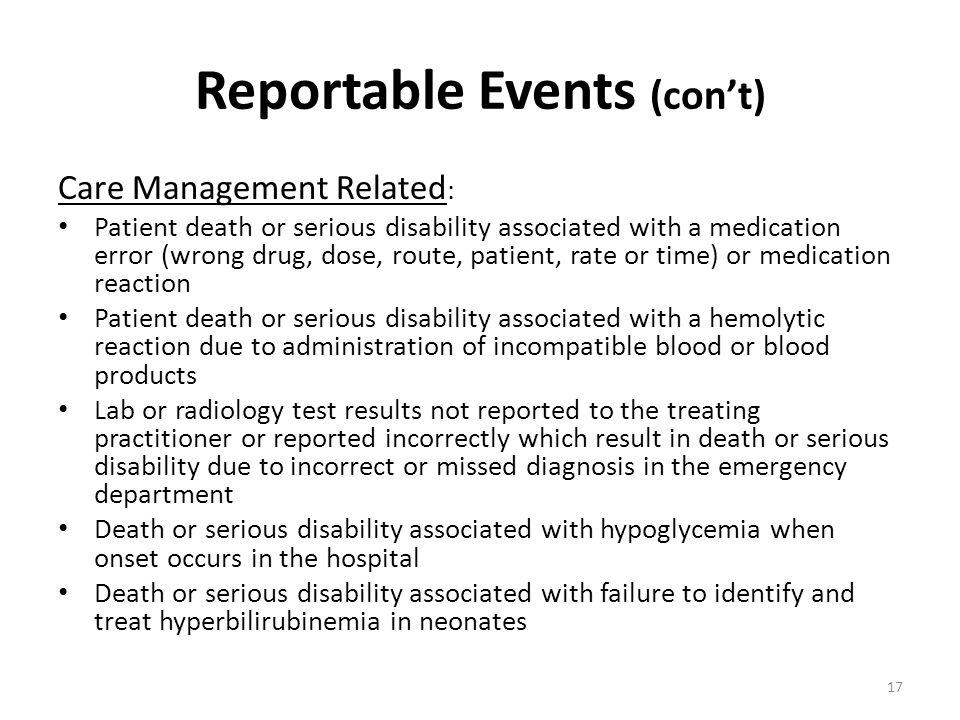 Reportable Events (con't)
