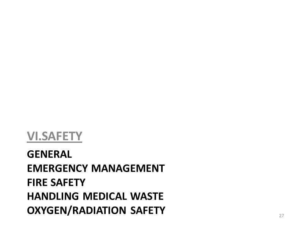 VI.SAFETY General Emergency Management Fire safety handling medical waste oxygen/RADIATION safety