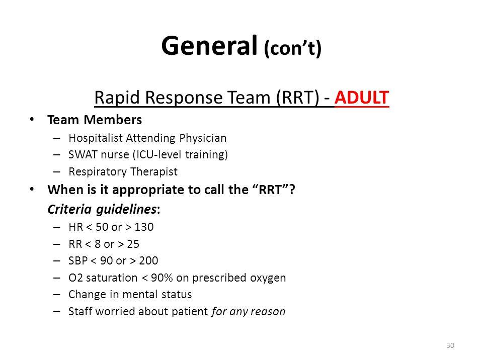Rapid Response Team (RRT) - ADULT