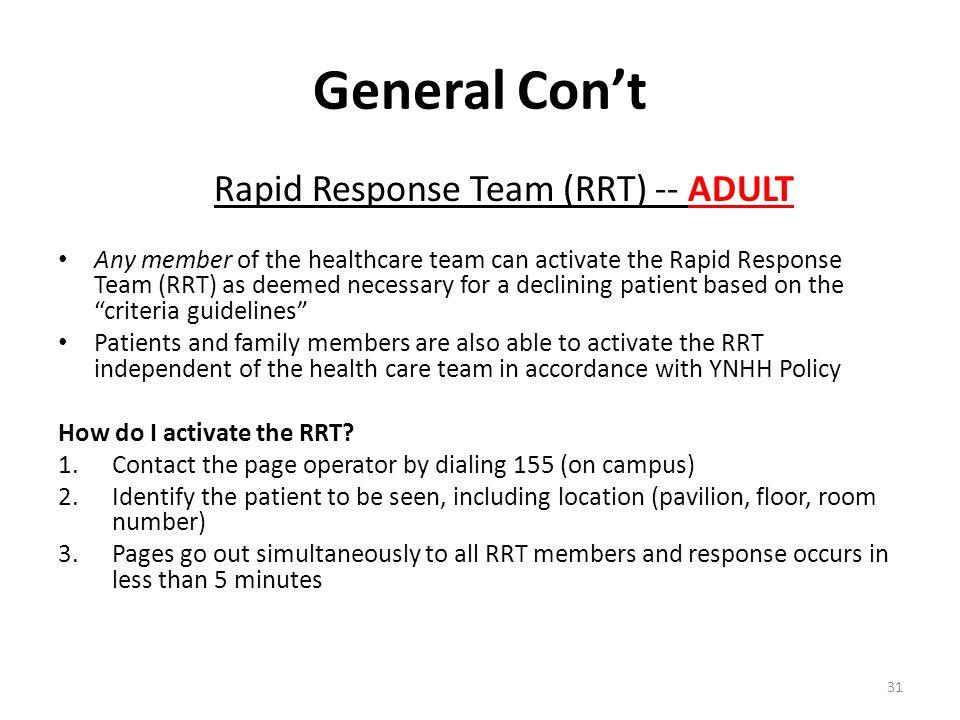 Rapid Response Team (RRT) -- ADULT