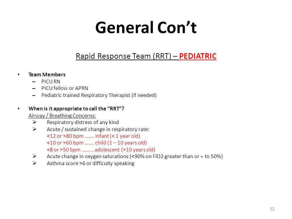 Rapid Response Team (RRT) – PEDIATRIC