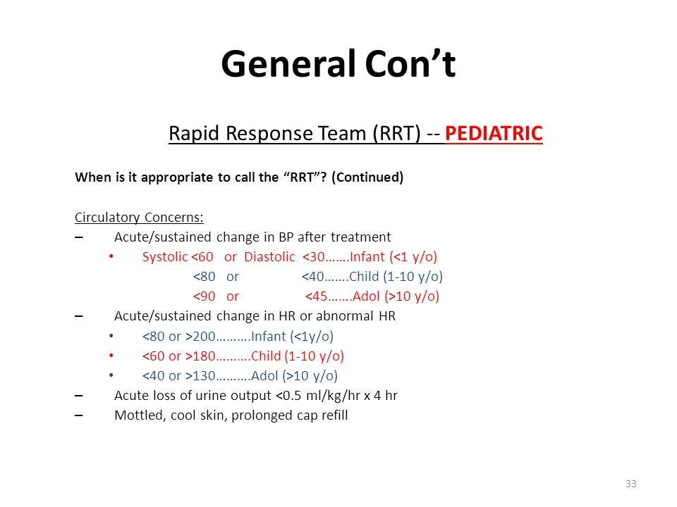 Rapid Response Team (RRT) -- PEDIATRIC