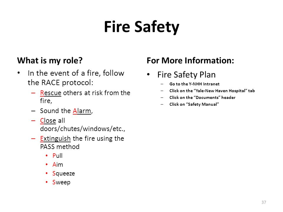 Fire Safety What is my role For More Information: Fire Safety Plan