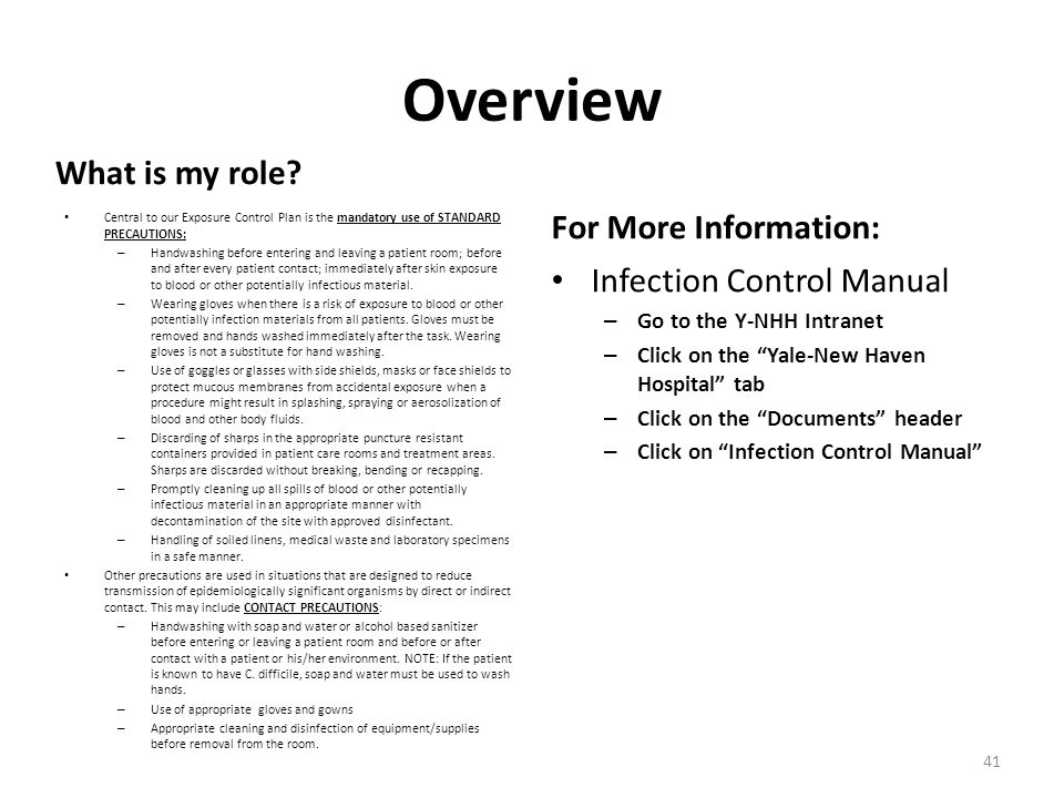 Overview What is my role For More Information: