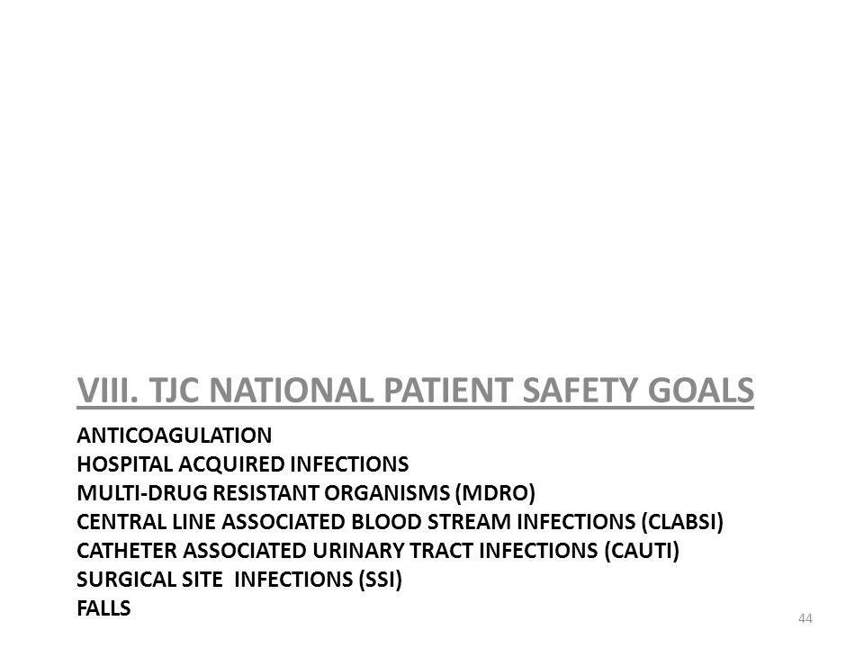 VIII. TJC NATIONAL PATIENT SAFETY GOALS