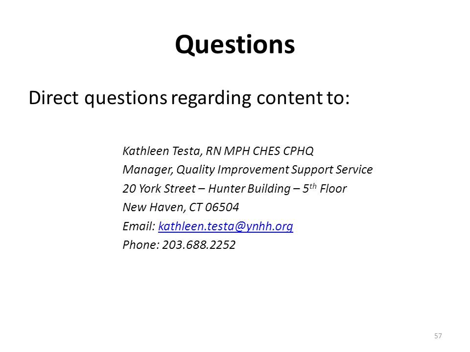 Questions Direct questions regarding content to: