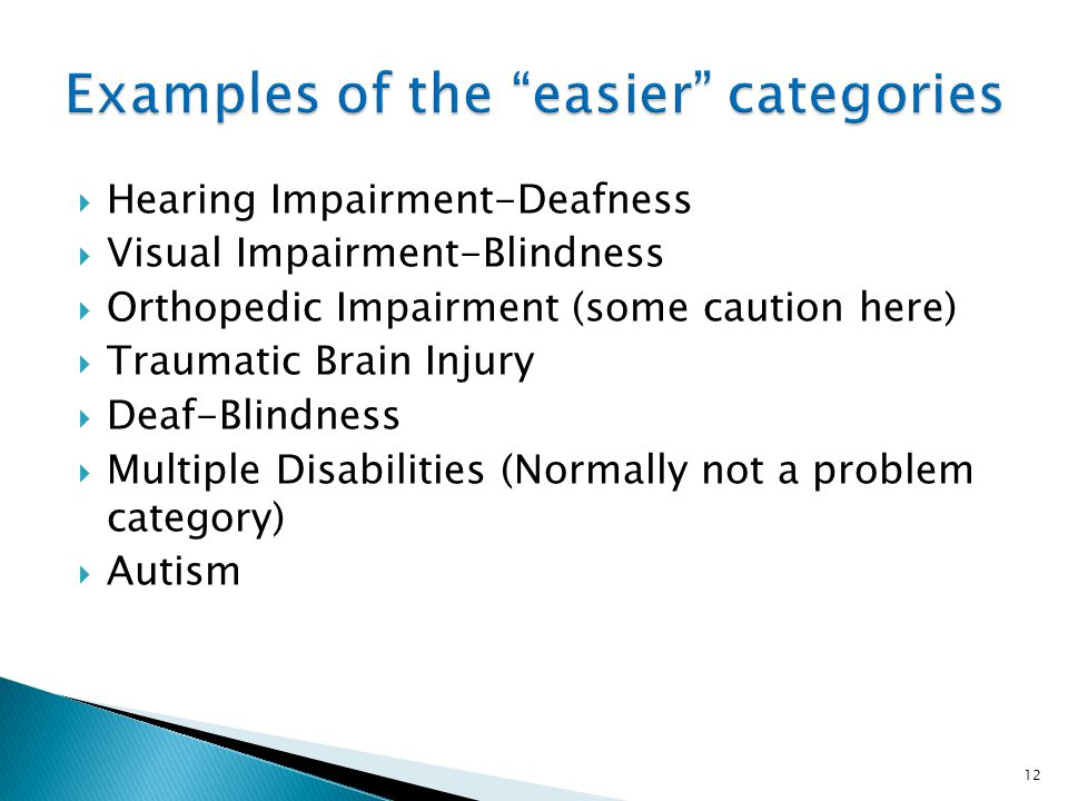 Examples of the easier categories