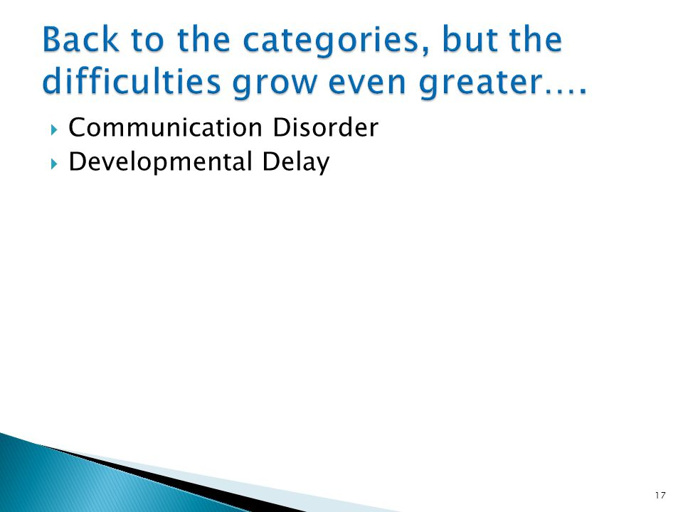Back to the categories, but the difficulties grow even greater….