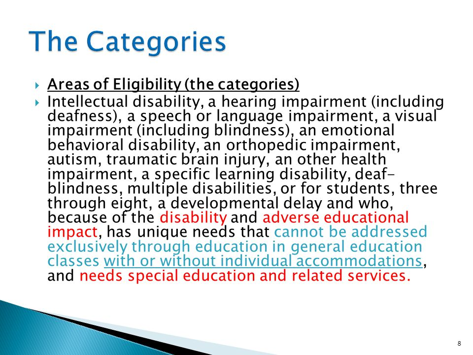 The Categories Areas of Eligibility (the categories)