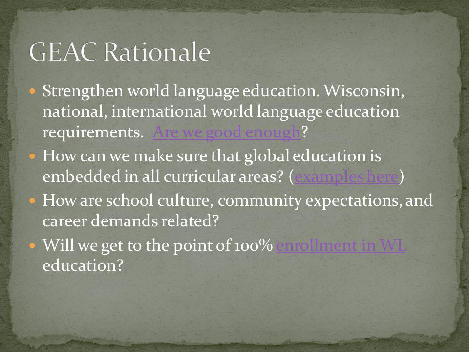 GEAC Rationale Strengthen world language education. Wisconsin, national, international world language education requirements. Are we good enough