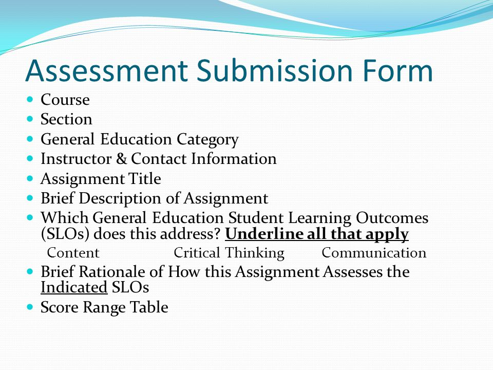 Assessment Submission Form