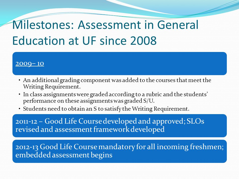 Milestones: Assessment in General Education at UF since 2008