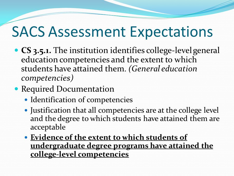 SACS Assessment Expectations
