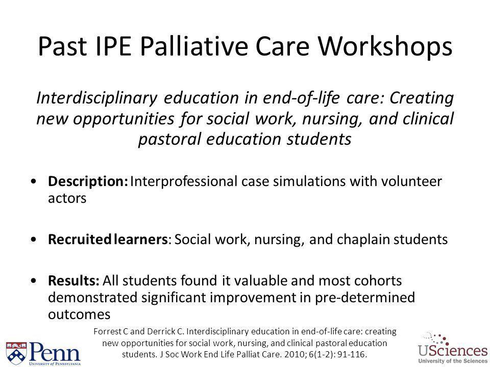 Past IPE Palliative Care Workshops
