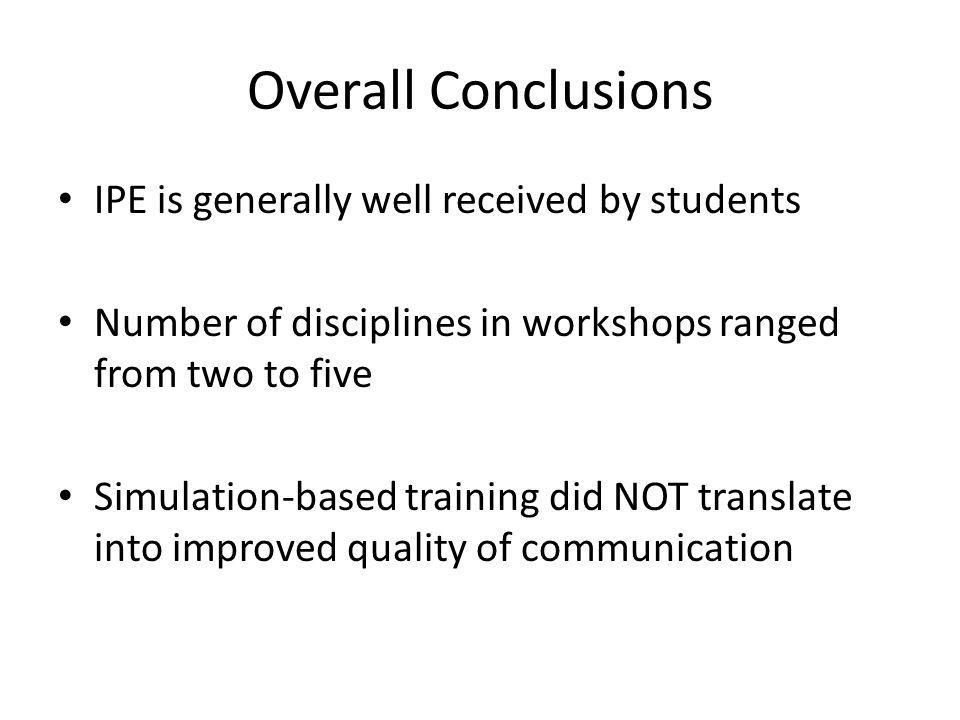 Overall Conclusions IPE is generally well received by students