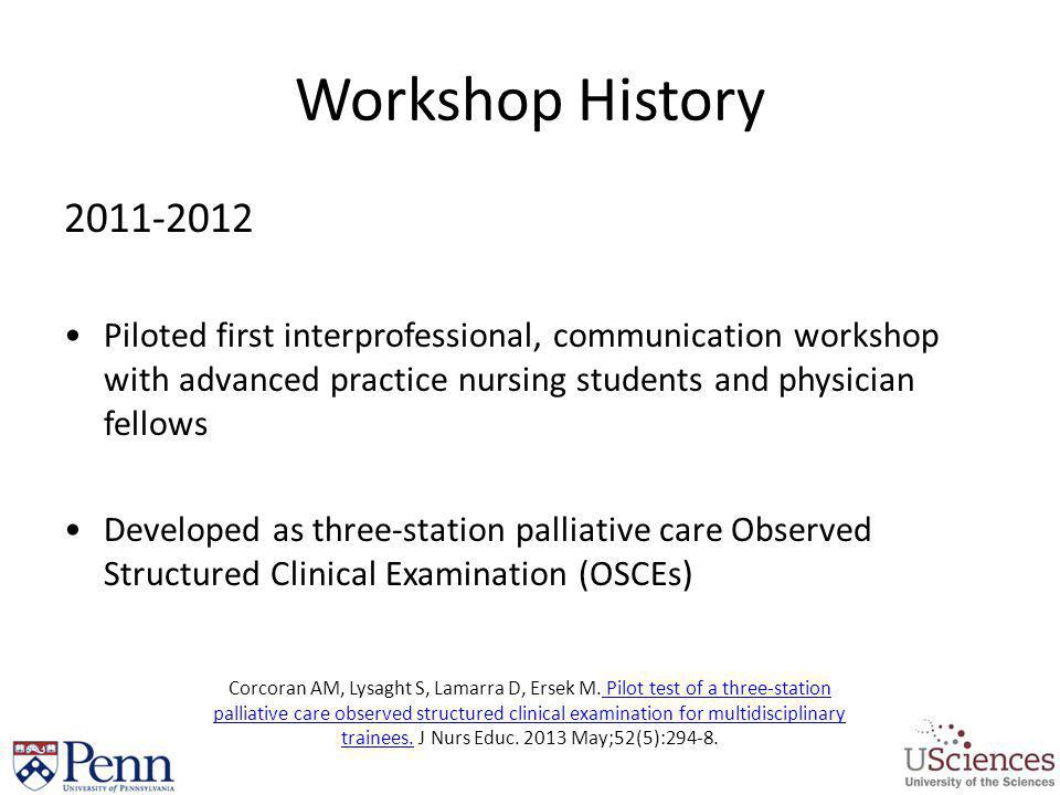 Workshop History 2011-2012. Piloted first interprofessional, communication workshop with advanced practice nursing students and physician fellows.