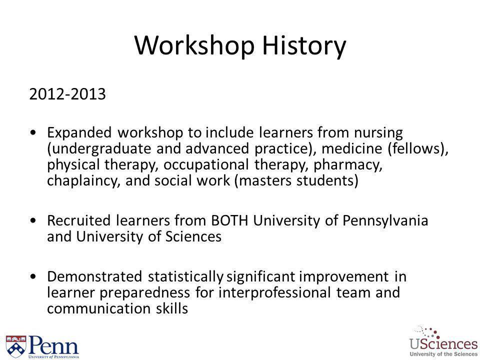 Workshop History 2012-2013.