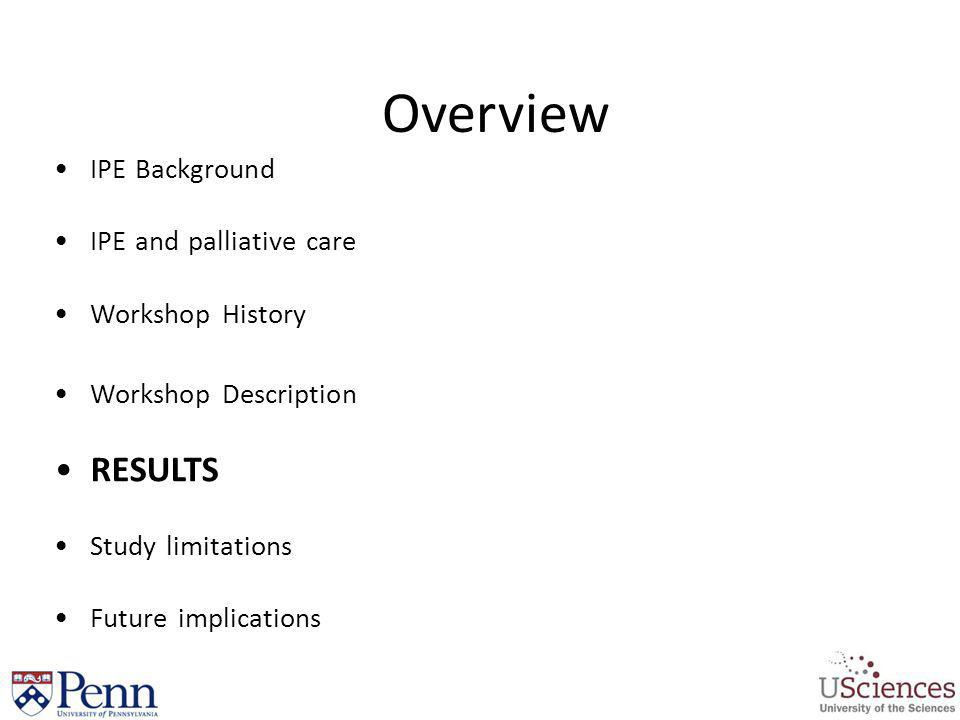 Overview RESULTS IPE Background IPE and palliative care