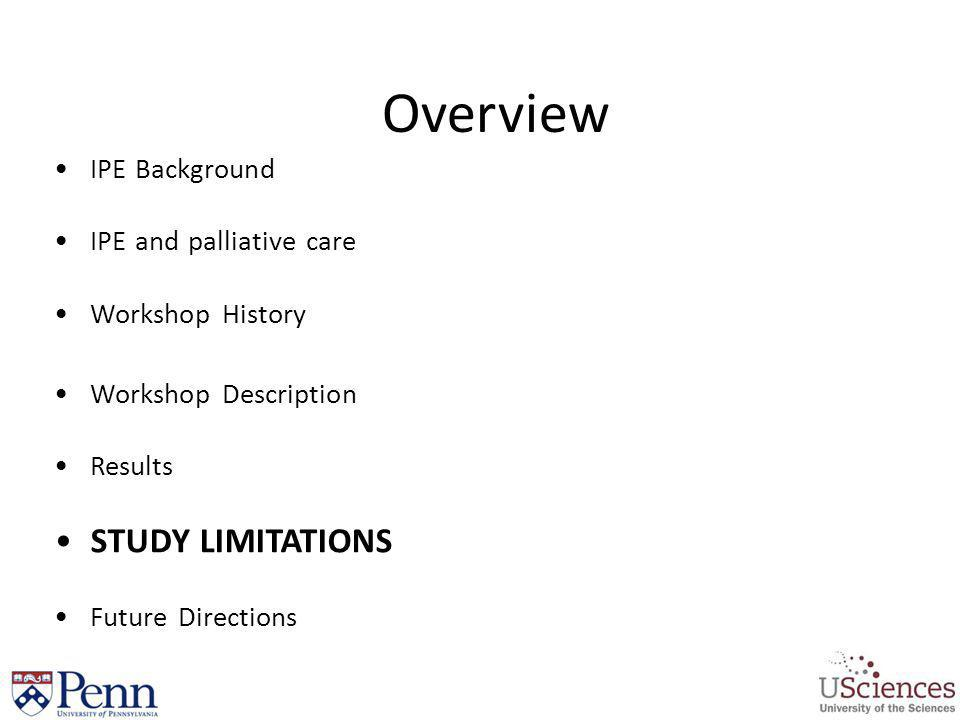 Overview STUDY LIMITATIONS IPE Background IPE and palliative care