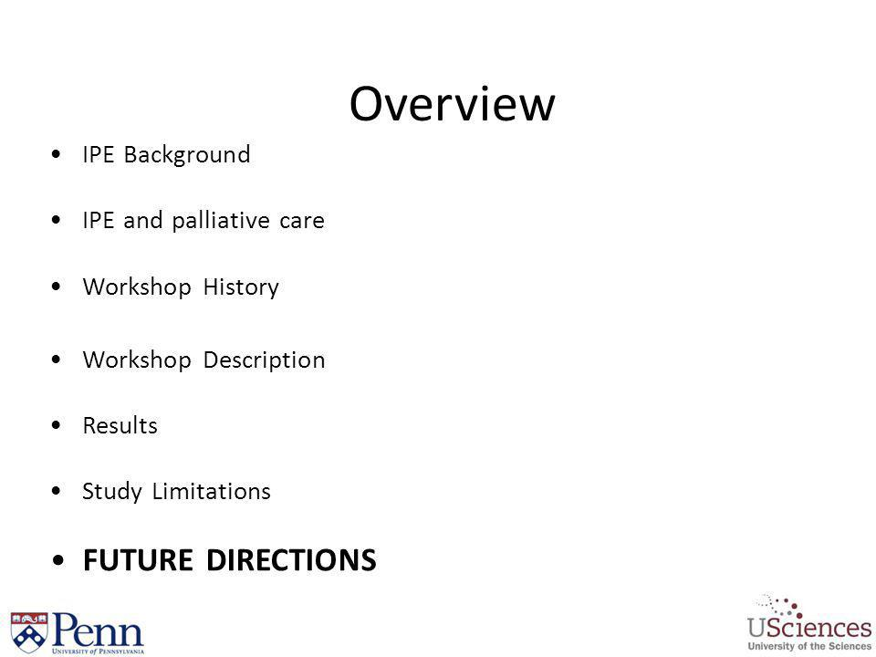Overview FUTURE DIRECTIONS IPE Background IPE and palliative care
