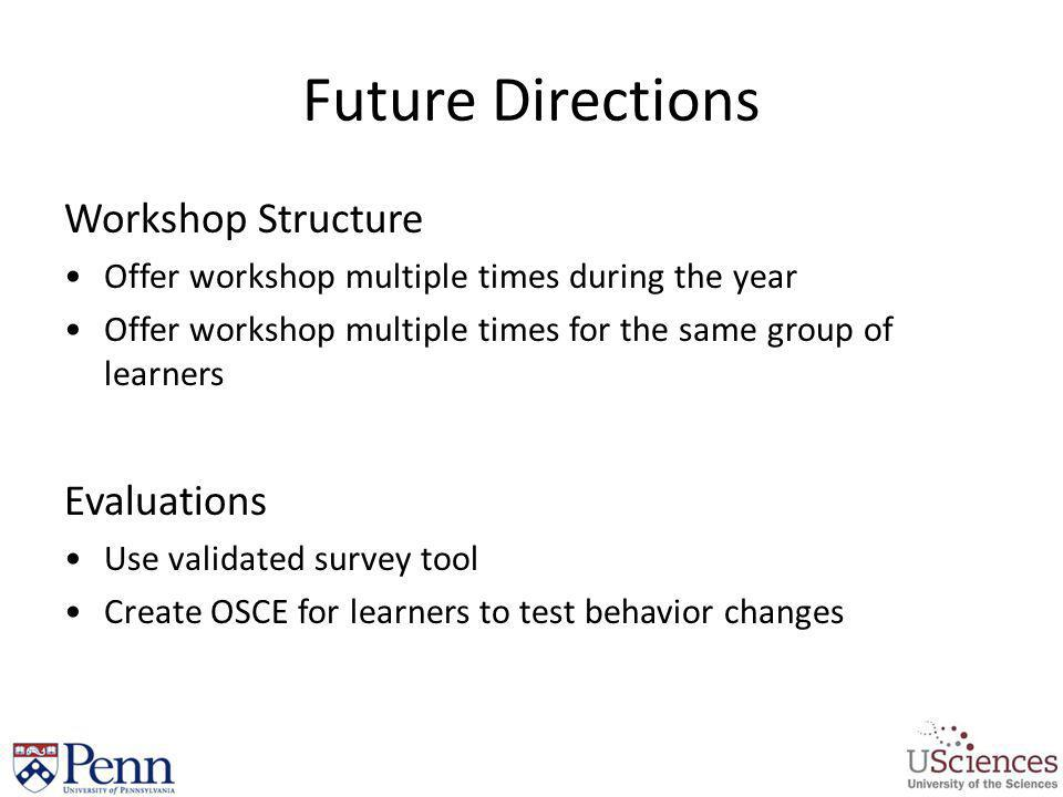 Future Directions Workshop Structure Evaluations