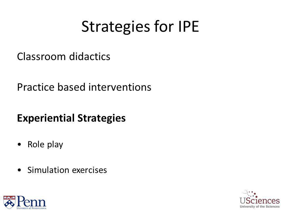 Strategies for IPE Classroom didactics Practice based interventions