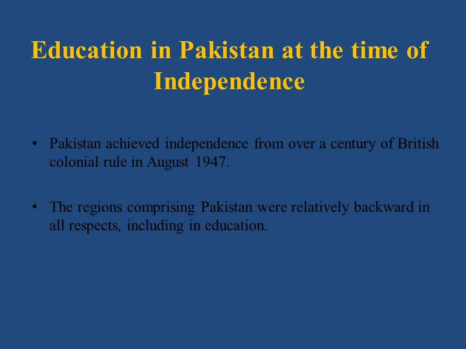 Education in Pakistan at the time of Independence