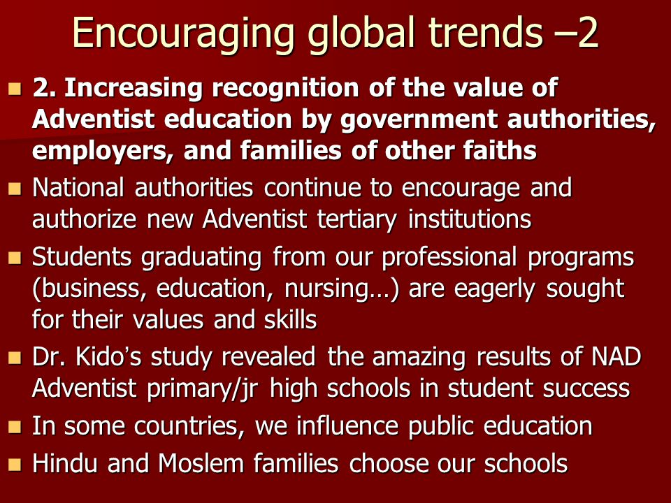 Encouraging global trends –2
