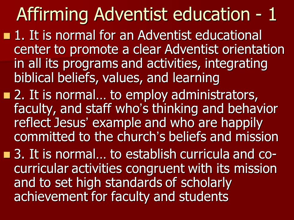 Affirming Adventist education - 1