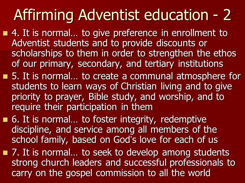 Affirming Adventist education - 2