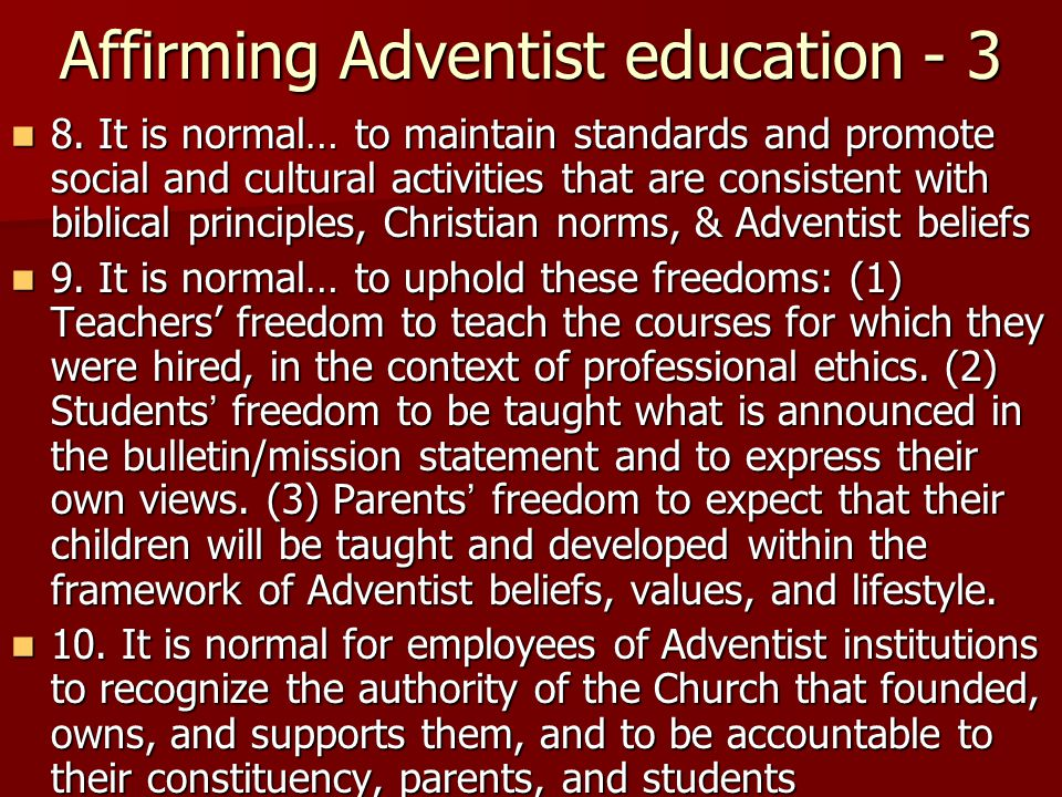 Affirming Adventist education - 3