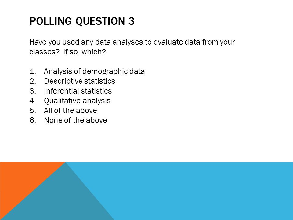 Polling Question 3 Have you used any data analyses to evaluate data from your classes If so, which