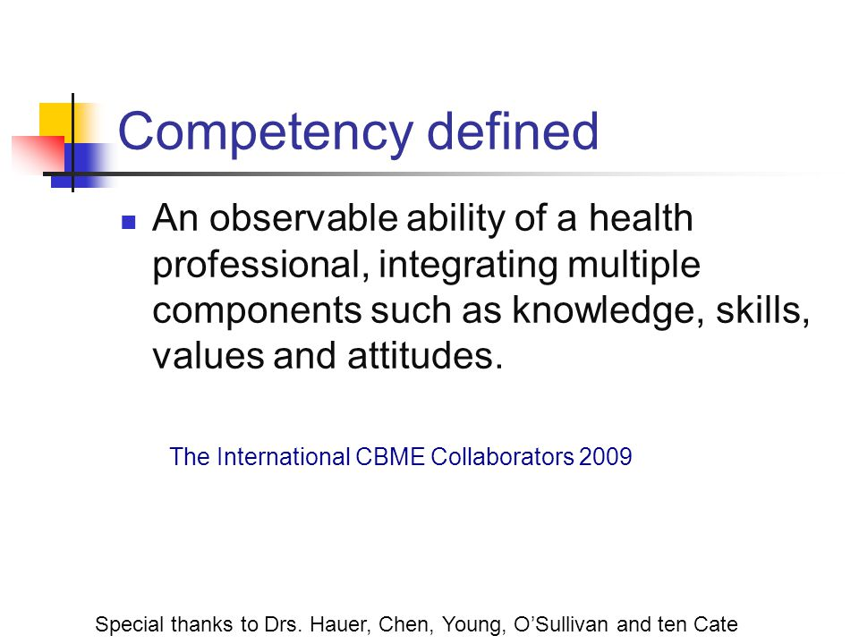 Competency defined An observable ability of a health professional, integrating multiple components such as knowledge, skills, values and attitudes.
