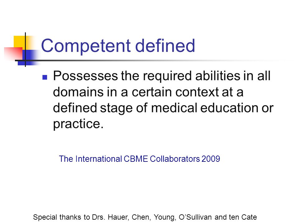 Competent defined Possesses the required abilities in all domains in a certain context at a defined stage of medical education or practice.